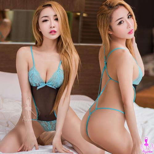 【AYOKA】情趣睡衣 翠藍黑網紗蕾絲性感連身衣(NA13030018)