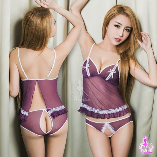 【AYOKA】情趣睡衣 深紫柔紗開襟美背二件式睡衣(NA12030155)