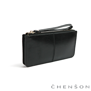 CHENSON 真皮獨立零錢袋大容量手機長夾 黑(W01366-3)