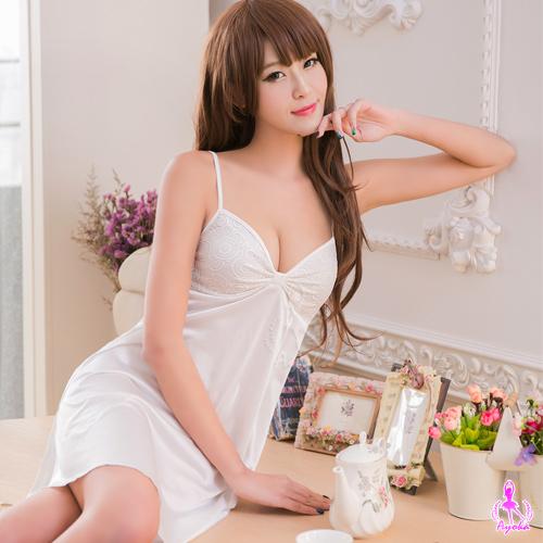 【AYOKA】性感睡衣 奶白蕾絲柔緞睡衣(NA16020021)
