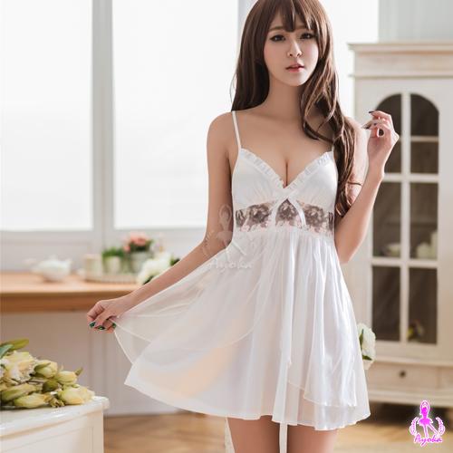 【AYOKA】性感睡衣 白色深V雙層刺繡睡衣(NA16020081)
