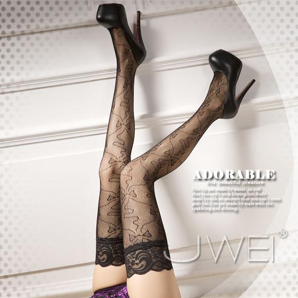 【JWEI】迷夢網蝶‧性感蝴蝶結蕾絲長筒網襪(JA-24160528)