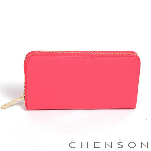 CHENSON 小牛皮4夾層拉鍊長夾 橘(W00528-O)