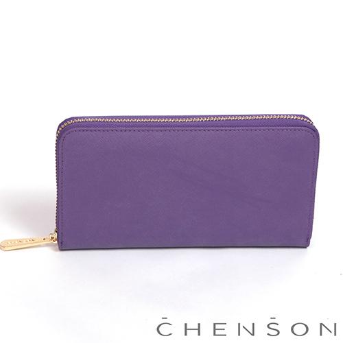 CHENSON 小牛皮4夾層拉鍊長夾 紫(W00528-V)
