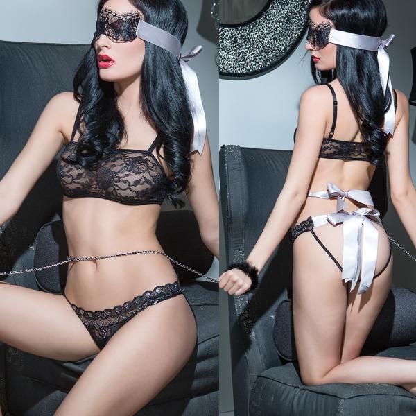 【Sexy Girls】情趣內衣 蕾絲裹胸性感吊帶二件組 配眼罩(CM-16009909)