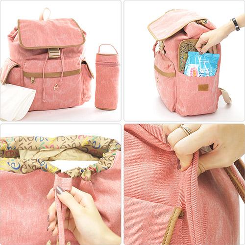 1818 背包+隔尿墊+奶瓶套 全方位三件組媽媽背包 藍(GS16005-9)