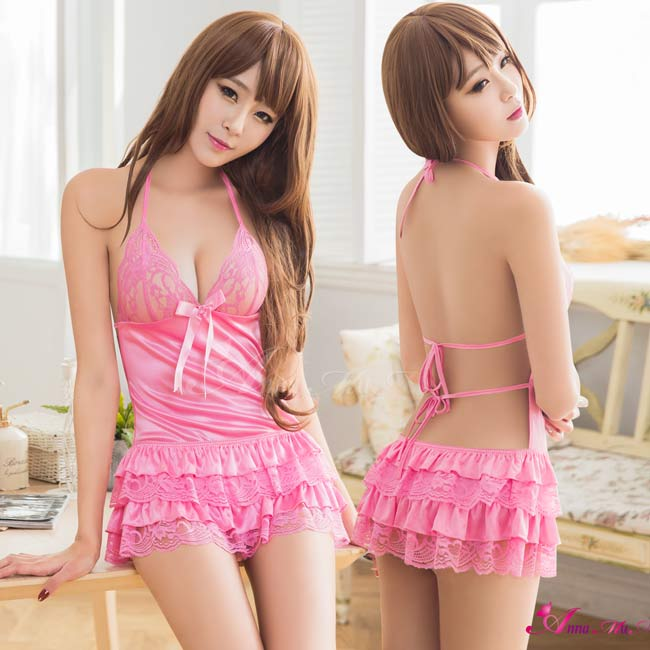 【Anna Mu】粉紅蕾絲澎裙後綁帶二件式睡衣(NA08020103-2)