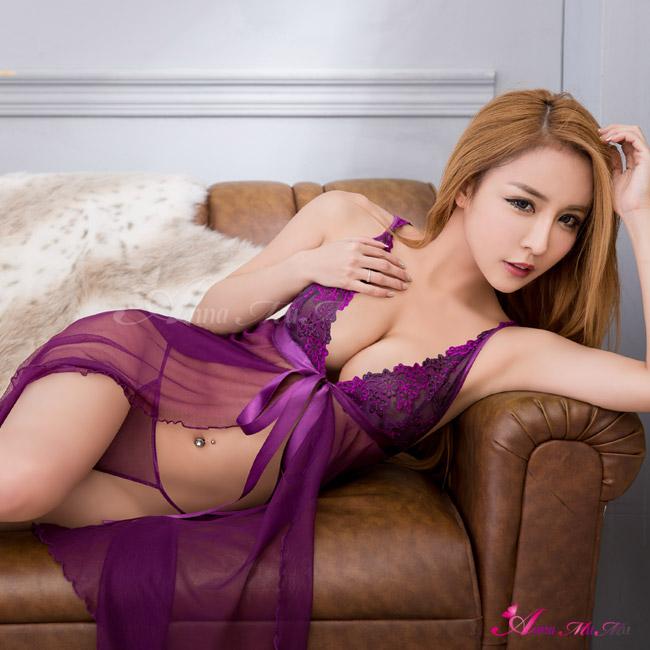 【Anna Mu】魅惑紫深V前後開襟薄紗二件式睡衣(NA16030006)
